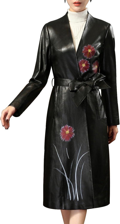 Women, Leather, Coat, Vneck, Sheep Skin