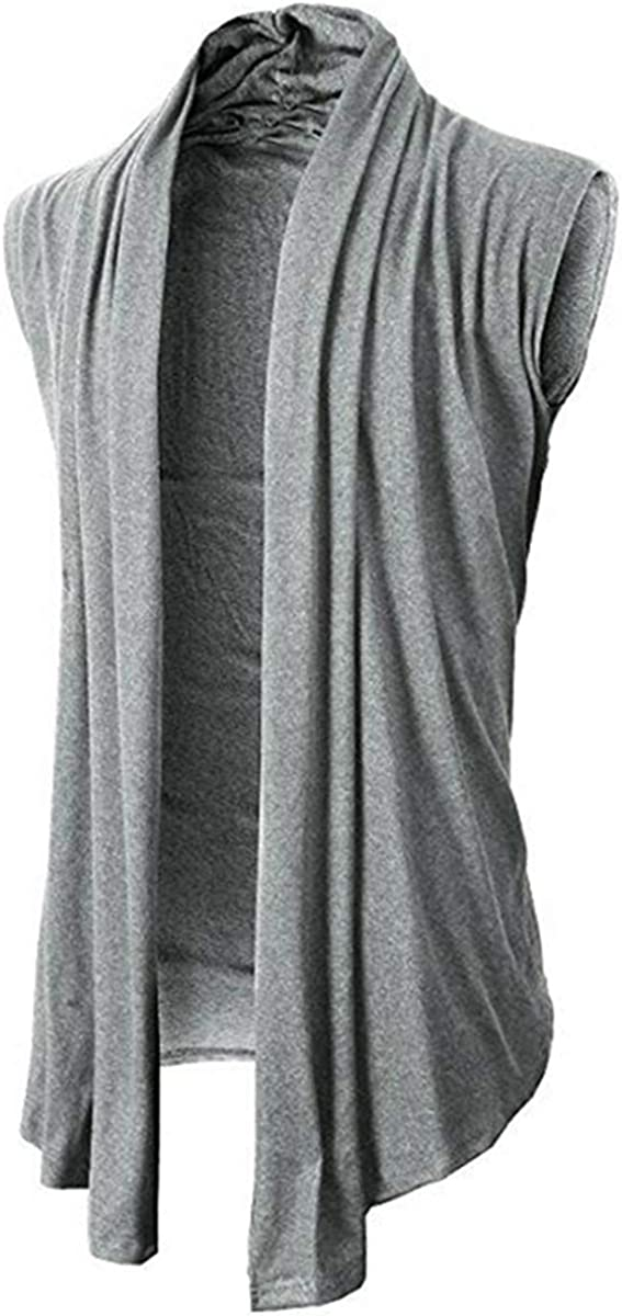 Men Fashion Casual Sleeveless Cardigan Solid Color Loose Outwear Cardigan Vest