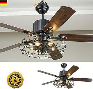 Ventilador de techo 2 en 1 de 52 pulgadas con luz, estilo industrial E27