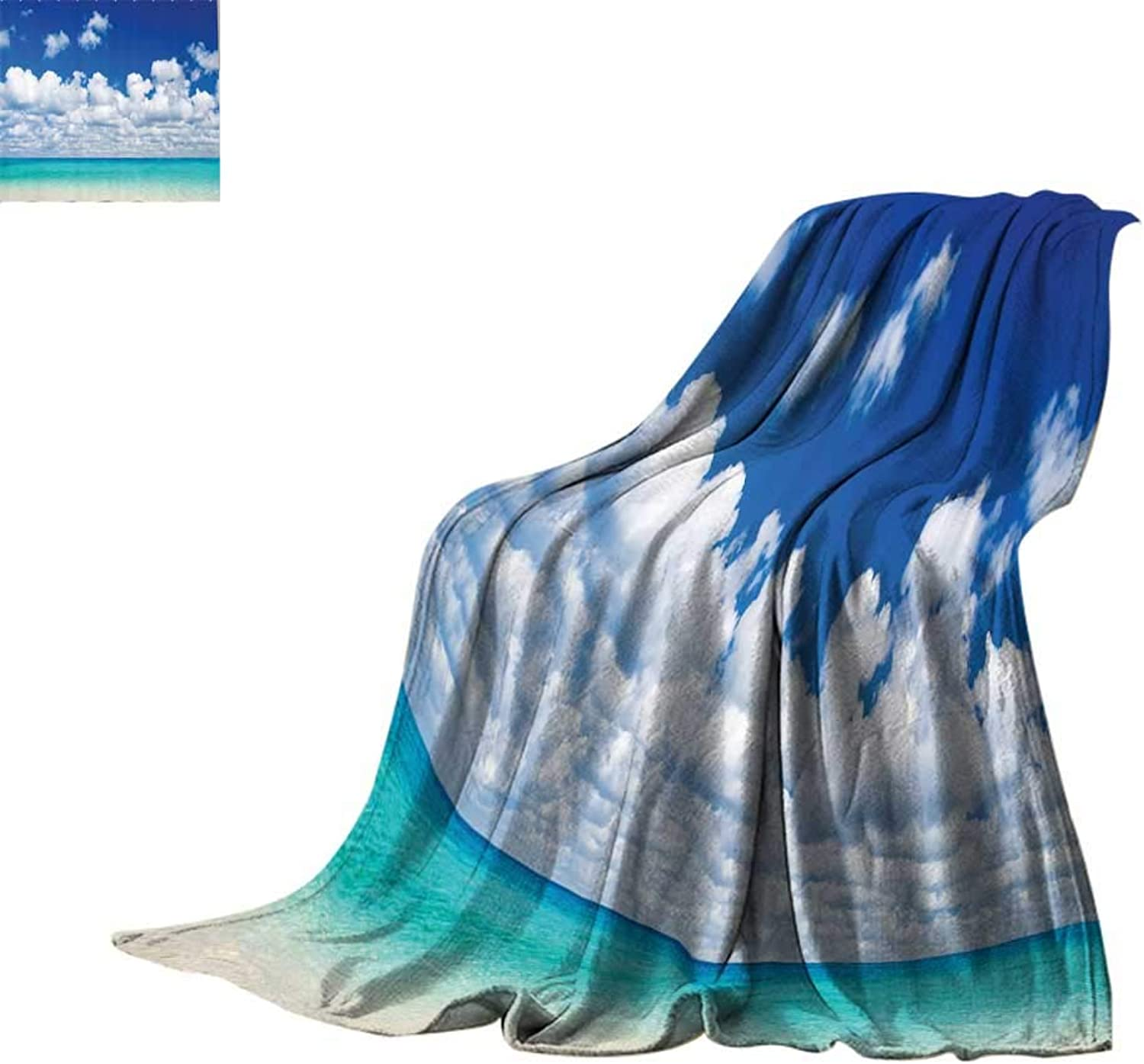 Cozy Flannel Blanket Ocean Decor,Paradise Beach and Tropical Hawaiian Style Exotic Sky color with Clouds Scenery,Turquoise Azure White Print Summer Quilt Comforter Bed or Couch 60 x35