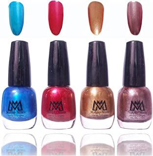 Makeup Mania Premium Nail Polish Frost Shine Nail Paint Combo (Blue, Red, Golden, Grey Silver, Pack of 4)