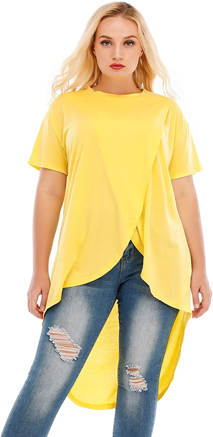LAPA Women Plus Size Round Neck Tunic Tops Long T Shirt Summer Casual Outfit