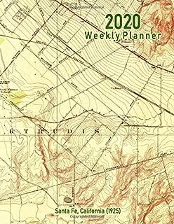 2020 Weekly Planner: Santa Fe, California (1925): Vintage Topo Map Cover