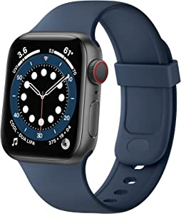 SVISVIPA Sport Bands Compatible with Apple Watch Bands 38mm 40mm, Soft Silicone Wristbands Women Men Replacement Strap for iWatch Series SE/6/5/4/3/2/1,Midnight Blue