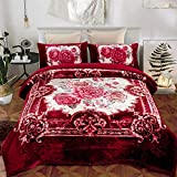 JML Sherpa Flannel Blanket, 3-Piece Fleece Blanket King with Pillow Shams- Soft, Warm, Korean Style Printed Embossed Bed Blanket, Burgundy