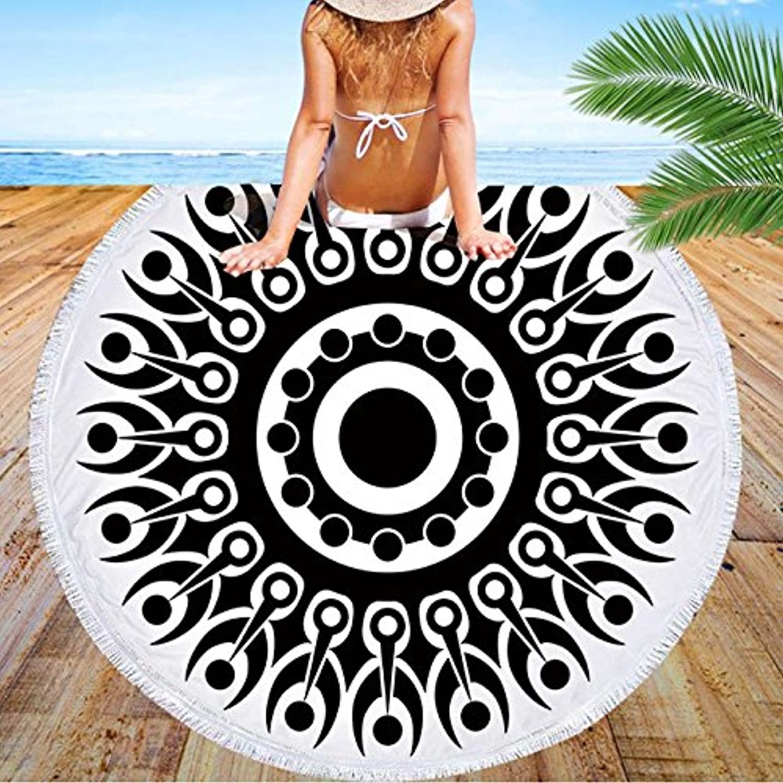GSYAZTT Feather Brush Boho Round Beach Towels N Summer Beach Coated Skirt Tablecloth N Yoga Mat Shawl