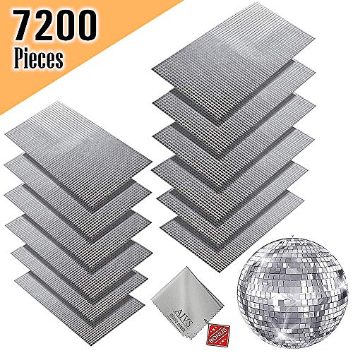AIVS Self-Adhesive Glass Craft Mini Square & Round Mirrors Mosaic Tiles/Stickers for DIY Craft Decoration,5 x 5 mm,7200 Pieces