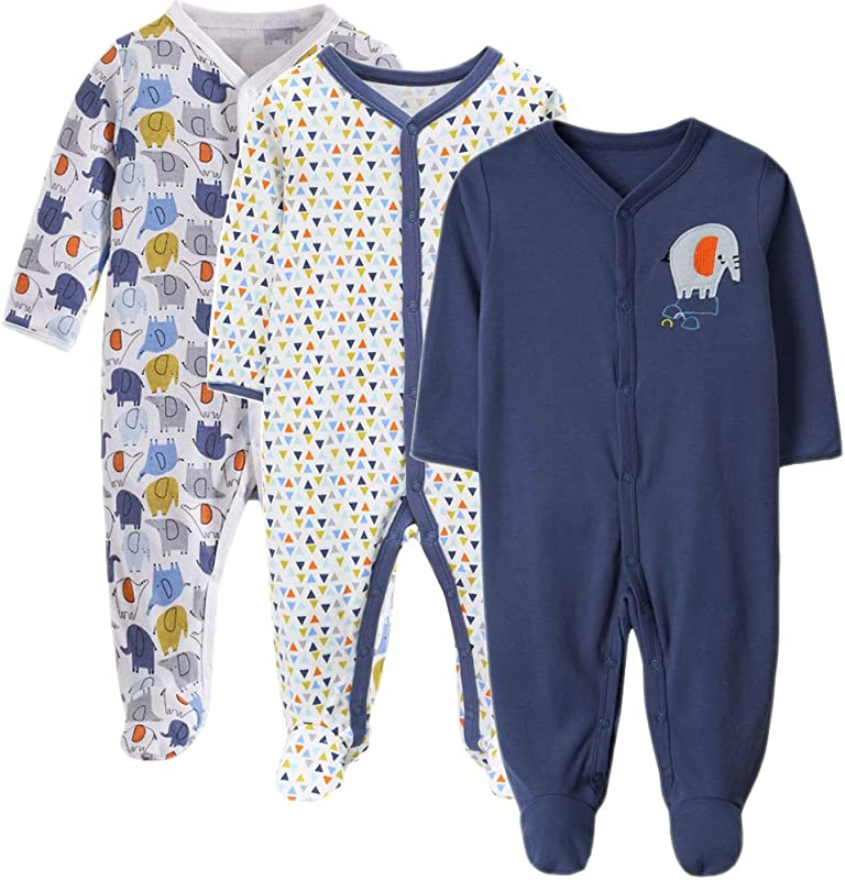 Exemaba Baby Boys Footie Pajamas With Mittens Cotton Infant Footed Sleeper Pjs Infant Sleep And Play Onesies Overall