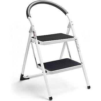 HOUSE DAY Escalera Escalera Plegable de 2 peldaños, Escalera Plegable Escalera de Acero sin escalones, Resistente y Ancha, Capacidad de Carga de hasta 150 kg, Blanco y Negro, (WK2061A-2): Amazon.es: Hogar