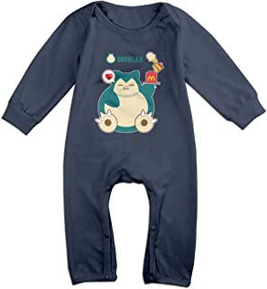 MOMO Hungry Snorlax Baby Romper Bodysuit Outfits Navy