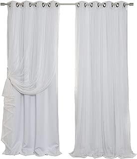 Best Home Fashion uMIXm Tulle Sheer Lace and Blackout 4 Piece Curtain Set – Antique Bronze Grommet Top – Vapor – 52