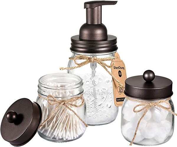 Mason Jar Bathroom Accessories Set Includes Mason Jar Foaming Hand Soap Dispenser And Qtip Holder Set Rustic Farmhouse Decor Apothecary Jars Bathroom Countertop And Vanity Organizer Bronze