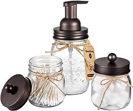Mason Jar Bathroom Accessories Set – Mason Jar Foaming Hand Soap Dispenser and Qtip..