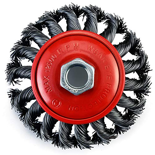 TILAX 4 Inch Wire Wheel Brush, Knotted Twist Wire Wheel for Grinders and Angle Grinder, 5/8 Inch-11 Threaded Arbor, 0.020 Inch Carbon Steel Wire, Heavy-Duty Conditioning for Metal