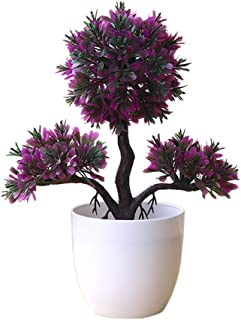 litymitzromq Artificial Flowers Outdoor Plants, Guest-Greeting Pine Simulated Potted Plant Fake Bonsai for Home Desk Garden Stage Office Wedding Hotel Party Cafe Shop Decoration Rose Red