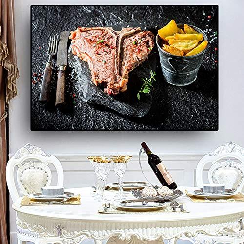 GJQFJBS Messer, Gemüse, Fleisch, Küche, Leinwand, Poster, Drucke, Wandbilder, Lebensmittelbilder, Wohnzimmerdekoration A1 60x90cm