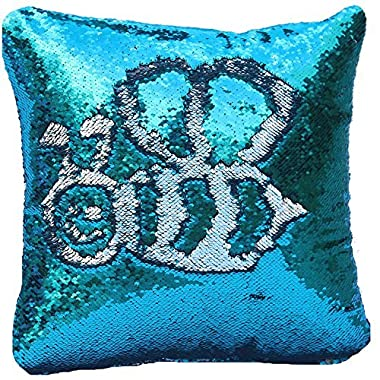 Magic Reversible Sequins Mermaid Pillow Cases Throw Pillow Covers Decorative Pillowcase 4040cm(1616 ) (blue/silver)