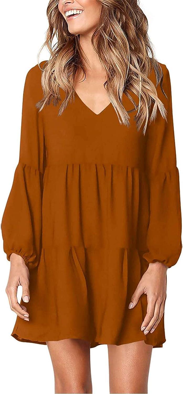 Masbird Summer Dress for Women,Women's V Neck Ruffle Print Loose Swing Casual Long Seleeve T-Shirt Dress