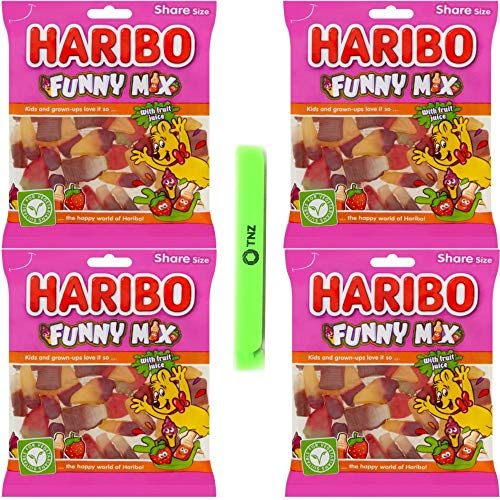 Haribo Funny Mix 160g x 4 - Halal, Vegetarian Sweets - Includes 1 Sealing Bag Clip