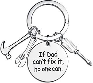 Father's Day Birthday Gifts from Daughter Son Dad Keychain Key Rings If Dad Can't Fix It, No One Can Repair Tools Charms (...