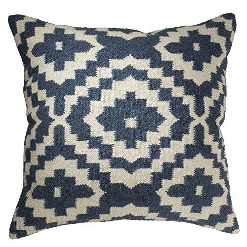 Fair-Trade-Kelim-Kissenbezüge, handgefertigt auf Handwebstühlen aus 80 % Wolle und 20 % Baumwolle und natürlichen Farbstoffen, indigoblau, Textil, blau, 60 x 60
