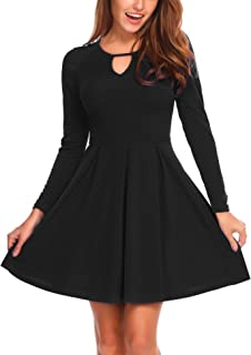 Women Long Sleeve Fit and Flare Cotton A-line Pleated Fall Dress Knee Length