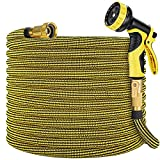 """Zoflaro Garden Hose 100ft, Expandable Water Hose 100 feet with 10 Function Spray Nozzle, Extra Strength 3750D, Durable 4-Layers Latex Flexible Expandable Hose with 3/4"""" Solid Brass Fittings, Leakproof"""