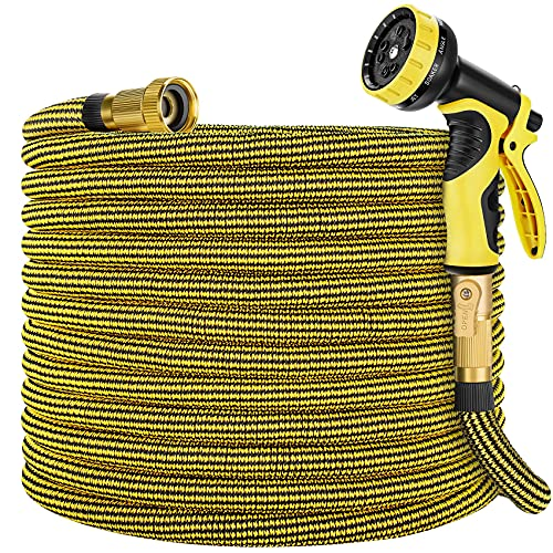 Zoflaro Garden Hose 100ft, Expandable Water Hose 100 feet with 10 Function Spray Nozzle, Extra Strength 3750D, Durable 4-Layers Latex Flexible Expandable Hose with 3/4' Solid Brass Fittings, Leakproof
