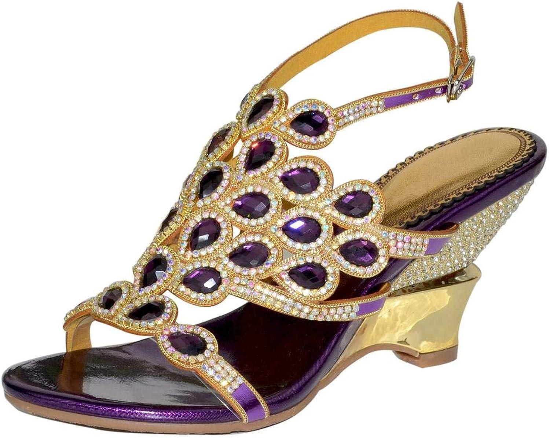 YooPrettyz Women's Rhinestone Bow Evening Sandals Cutout Wedding Sandal Slingback Style