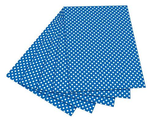folia 5903 - Fotokarton blau mit weißen Punkten, 50 x 70 cm, 10 Bogen, beidseitig bedruckt - zum Basteln und kreativen Gestalten von Karten, Fensterbildern und für Scrapbooking