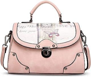 Sivias Handbag-Elegant Tote Handbag Crossbody Bag Shoulder Bag Women Purse PU Leather(Size:28cm*13cm*20cm Color:Choose from a Variety of Colors) (Color : Pink)