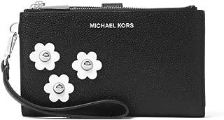 MICHAEL Michael Kors Adele Floral Appliqué Leather Smartphone Wristlet in Black