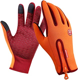 LingGT Touch Screen Gloves Waterproof Zipper Outdoor Mittens (Color : Orange, Size : XL)