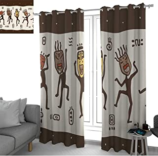 LewisColeridge Curtains for Living Room Primitive,Cartoon Dancing Natives Wearing African Masks Prehistoric Rituals,Army Green Beige Yellow,Complete Darkness, Noise Reducing Curtain 52