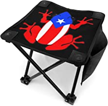 Jkhguygytftruyhrt Puerto Rico Rican Frog Portable Chair Outdoor Folding Stool Fishing Stool for Fishing BBQ Hiking Gardening and Beach, Travel