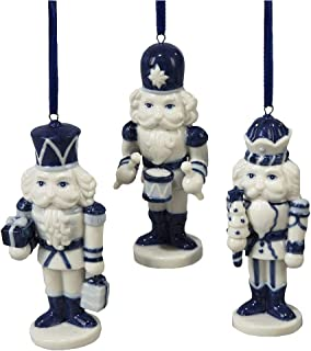 blue and white ornament set