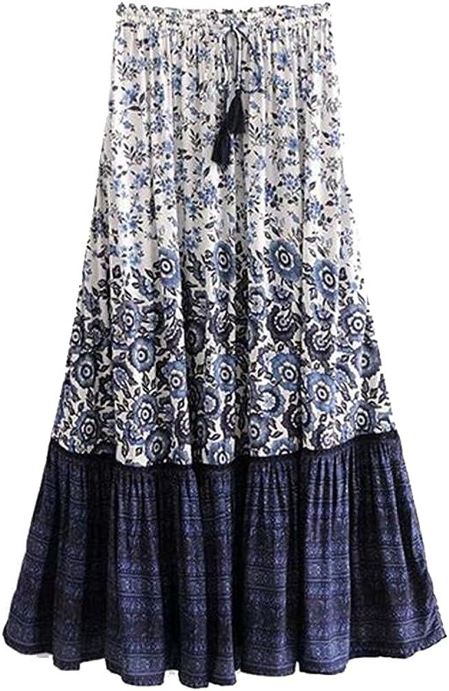 Women Floral Print Tassel Beach Skirt High Elastic Waist Rayon Maxi Femme