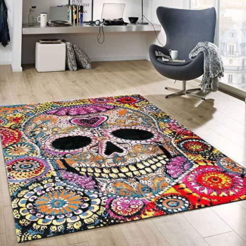 VIMODA Kunstvoller Teppich Mit Schädel Motiv Geheimnisvoll In Multicolor, Maße:60x110 cm