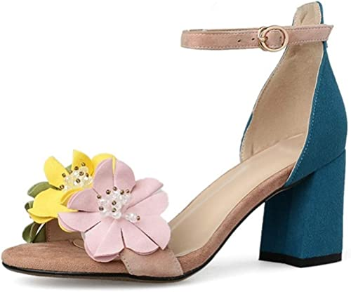 Summer Round Toe Buckle Strap Crystal FFaibleer Mixed Mixed Couleurs High Heels Sandals  70% de réduction