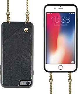 iPhone 6 Wallet Case,iPhone 6s Wallet Case,JLFCH Leather Wallet Case with Card Slot,Leather + Metal Crossbody Strap,Full Frame Protection Case for Apple iPhone 6/6s,4.7 inch,Black