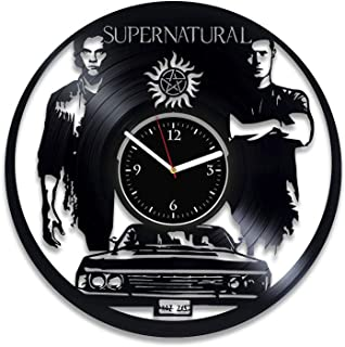 Clock Supernatural Home Decor Serial Art Winchester Brothers Wall Clock Supernatural Birthday For Boy Serial Vinyl Record Clock Xmas Idea For Girl Handmade Clock 12 Inch