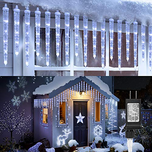 Icicle Christmas Lights, 20-Count 90 LED Icicle Lights, Waterproof Outdoor Christmas Decorative Lights, White Icicle Lights for Christmas Decorations