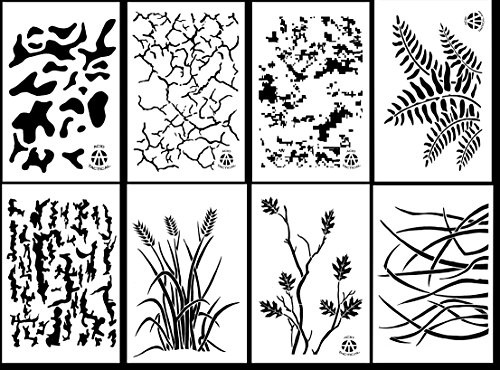 Acid Tactical® 8 Pack - 23 cm x 35 cm camouflage Vinyl Airbrush Spray Paint Schablonen - (Gras, Rinde, DIGITAL, Multicam, Farn, Jag Camo)