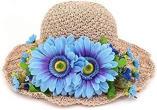 HaiNing Zheng Summer Women Sun Hat Girl Crocheted Raffia Gift Handmade Soft Pleated Straw Visor Child Hat Ladies Beach Hat