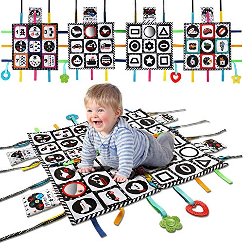 teytoy Tummy Time Floor Mirror, Double High Contrast Play and Pat Activity Mat Black and White Baby Crinkle Toys with Teether, Great Gift for Infants Boys and Girls -Pack of 4