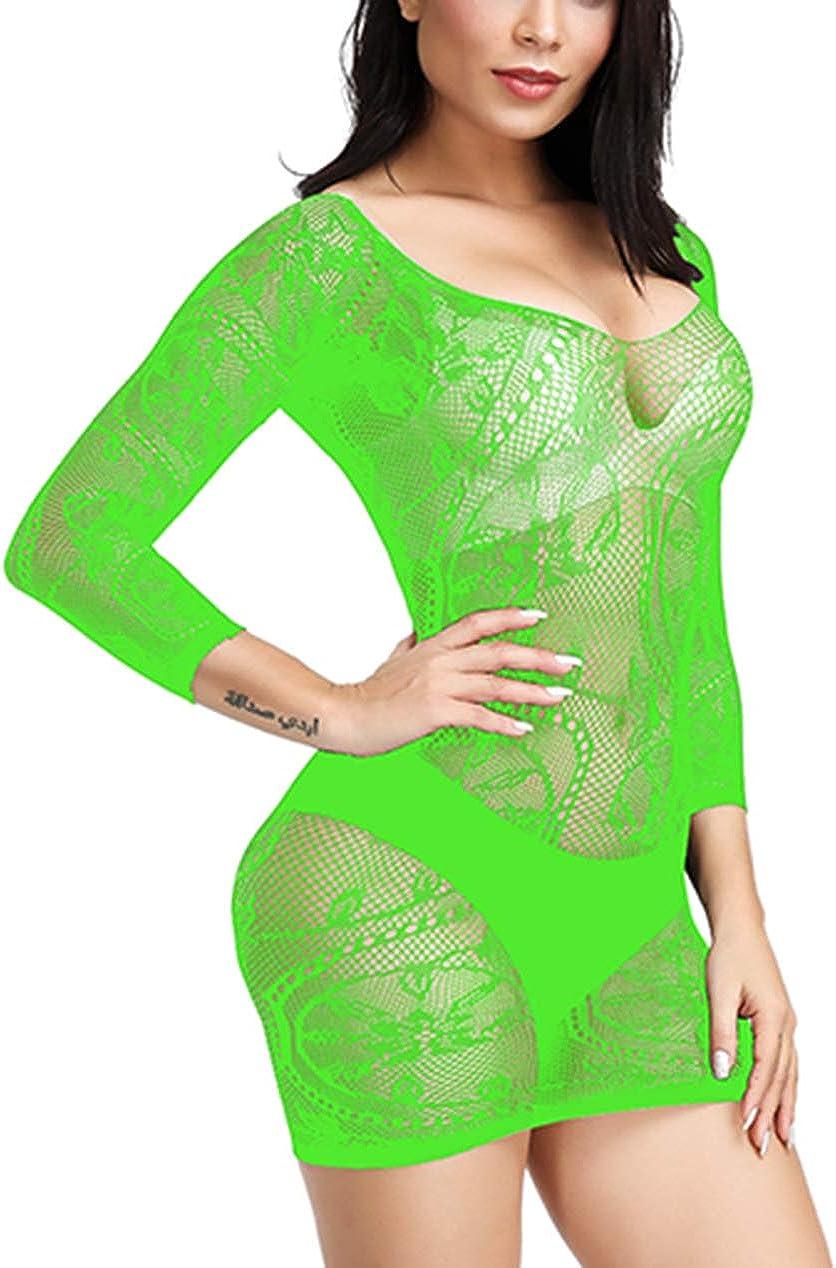 WOOSIFUN Women Fishnet Lingerie Sleepwear Loong Pattern Mesh Babydoll Mini Dress Free Size Bodysuit One Piece