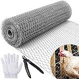 MAIYADUO Malla de alambre de pollo para proyectos de manualidades, 400 mm x 7 m, alambre hexagonal galvanizado ligero, cercas de conejo, malla de metal con alicates y guantes