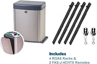 FAS J-Slider&P300BBU Slide Gate Opener (Rack and Pinion) Including 4 ROA6 Racks and Two FAS-J-4CHTX Remote Control Transmitters