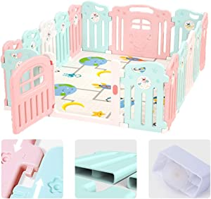 Baby Playpen With Suction Cup Kids Activity Centre Removable Safety Play Yard For Home Indoor Outdoor Infant Toddlers Babies Products  Size 150x187 5cm