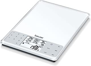 Beurer DS 61 - Balanza de cocina con análisis nutricional, 5kg 1 gr, nivel de grasa, proteínas, colesterol y calorías, auto tara, altura números pantalla 1.3cm, color blanco